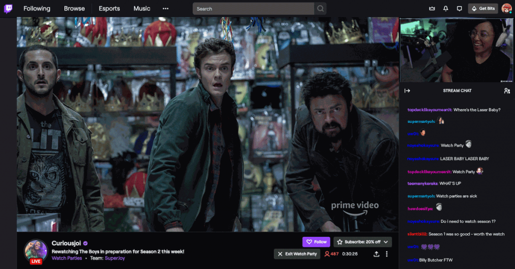 Twitch now lets anyone host an online movie party with the Amazon Prime Video library