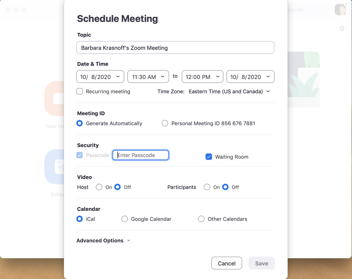 When you schedule a meeting, you get a variety of options for security and notification.