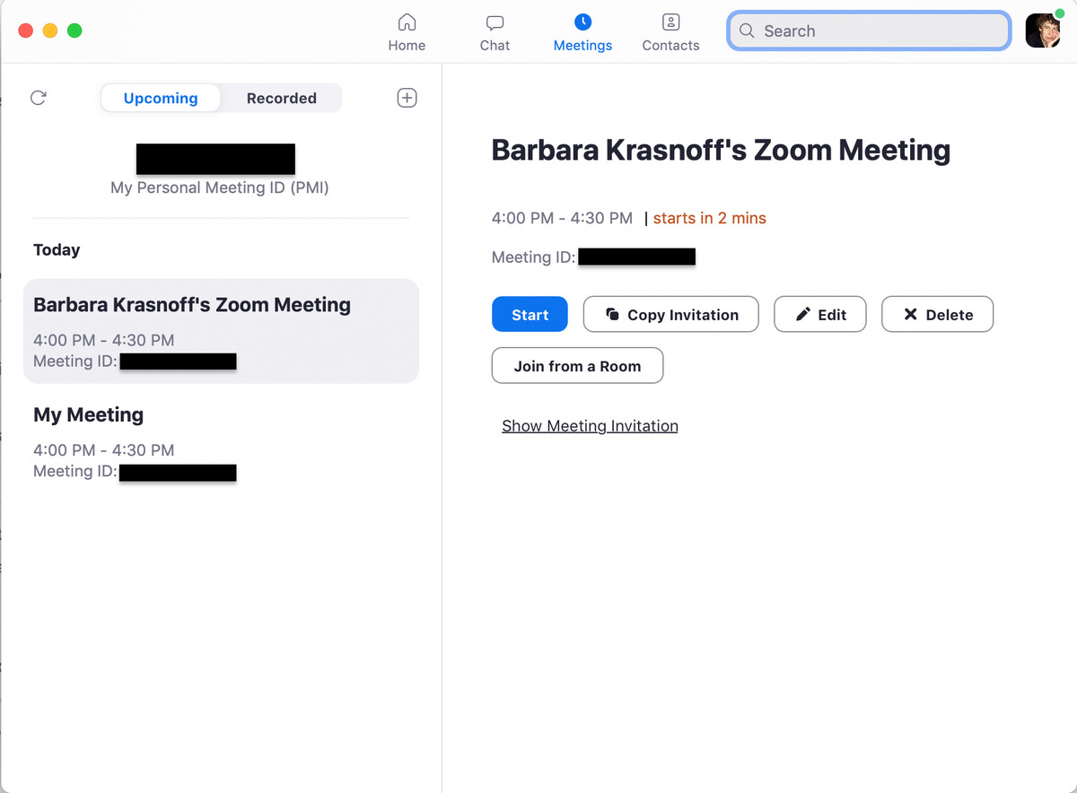 As with the web version, you have many options for scheduling a meeting
