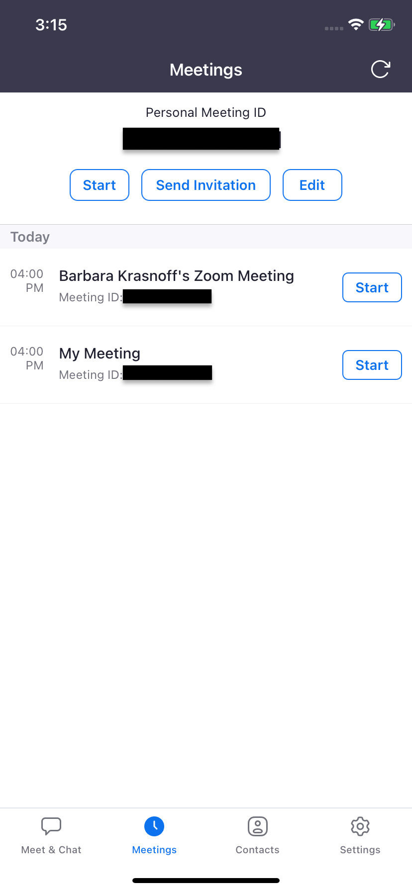 "As with the web version, ""Meetings"" lets you send an invitation"