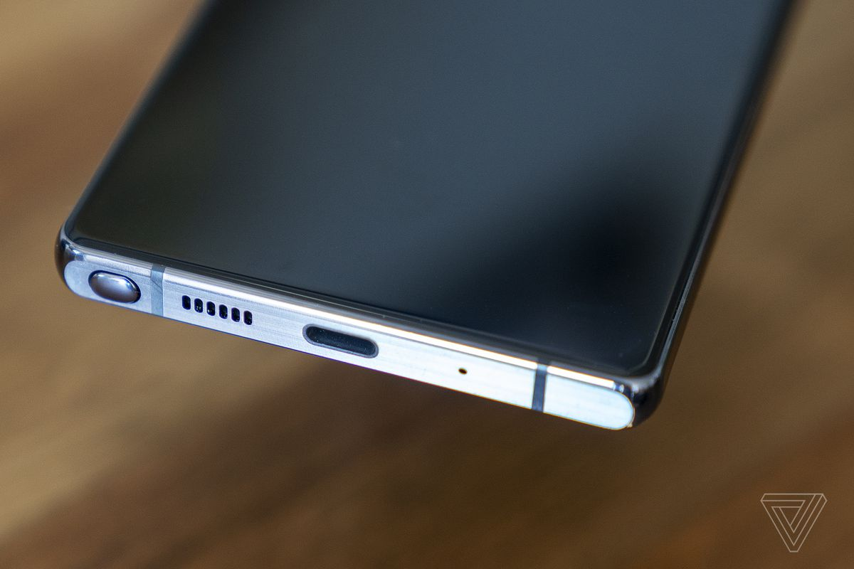 The S-Pen is located on the lefthand side of the phone.