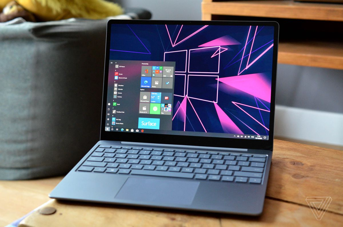 The Surface Laptop Go angled slightly to the left.