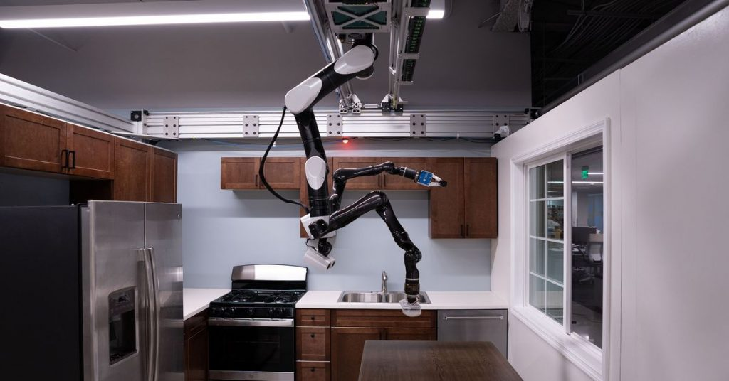 Toyota's robot butler prototype hangs from the ceiling like a bat