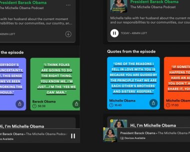 Spotify tests visual quote cards for The Michelle Obama Podcast